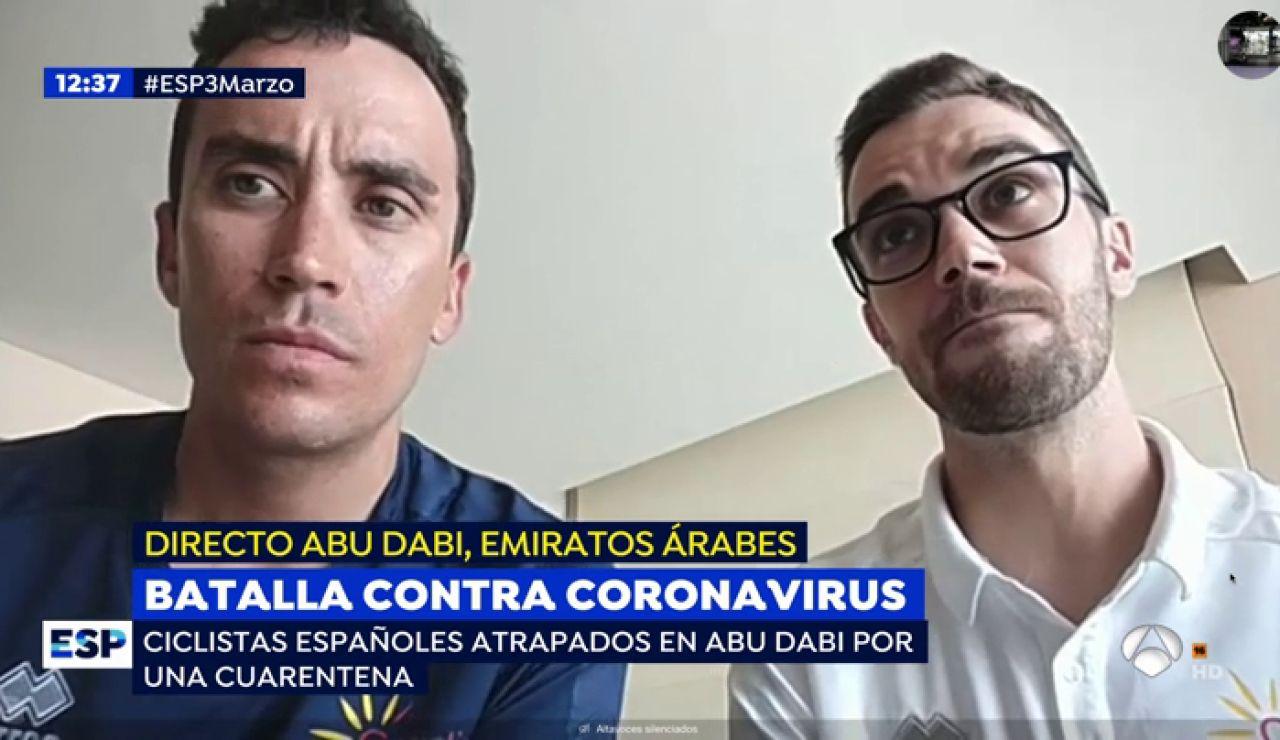 """La llamada de auxilio de dos ciclistas españoles encerrados en un hotel de Abu Dabi por el coronavirus: """"Estamos indefensos"""""""
