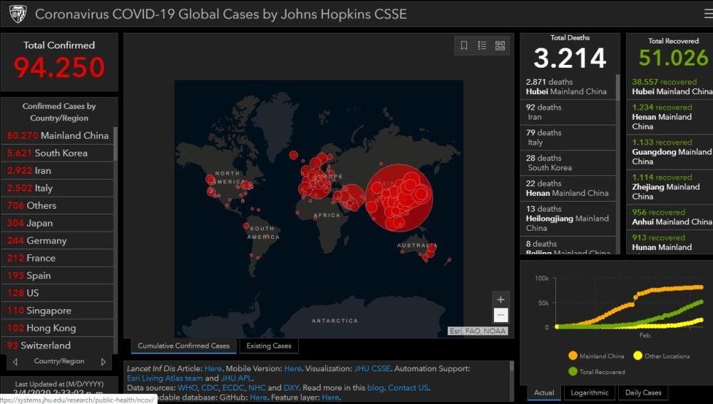 Coronavirus: Mapa de los contagios de coronavirus en tiempo real