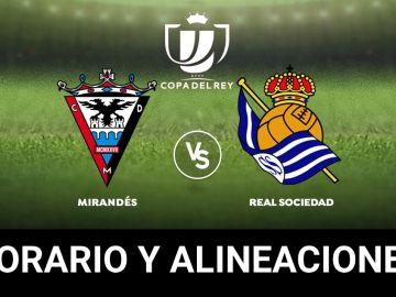 Mirandés - Real Sociedad: Alineaciones y dónde ver el partido de hoy de la Copa del Rey en directo