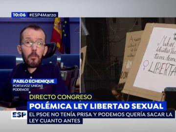"""Pablo Echenique sobre las discrepancias en el gobierno por la ley de libertad sexual: """"parece que hace falta que venga un machote a hacer las cosas"""""""