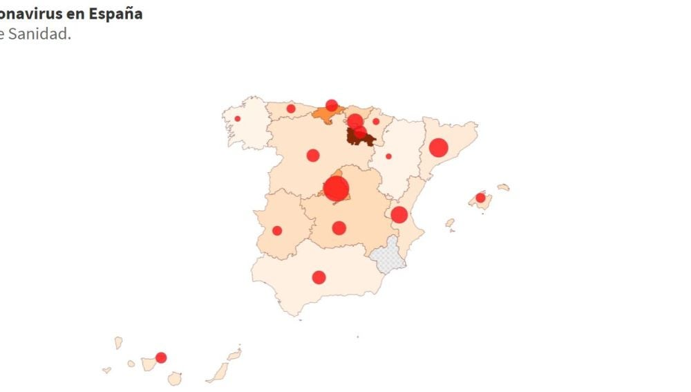 Mapa de la expansión del coronavirus en España