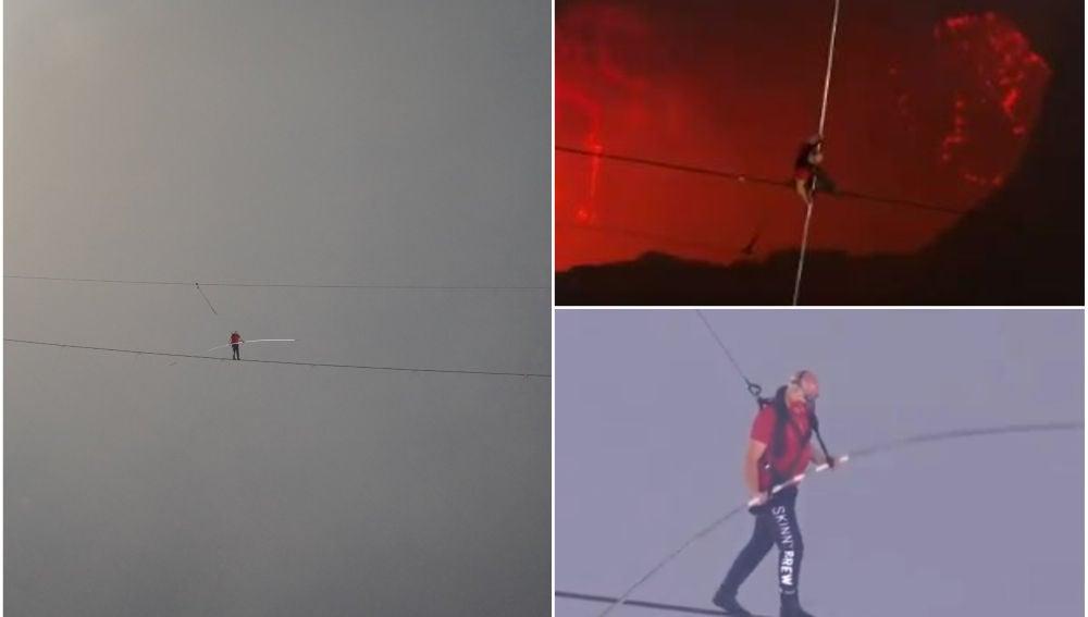 Nik Wallenda cruza el volcán Masaya sobre un cable