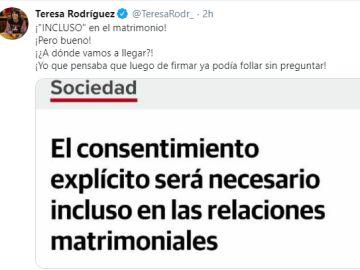 Teresa Rodríguez responde al consentimiento necesario dentro de la pareja
