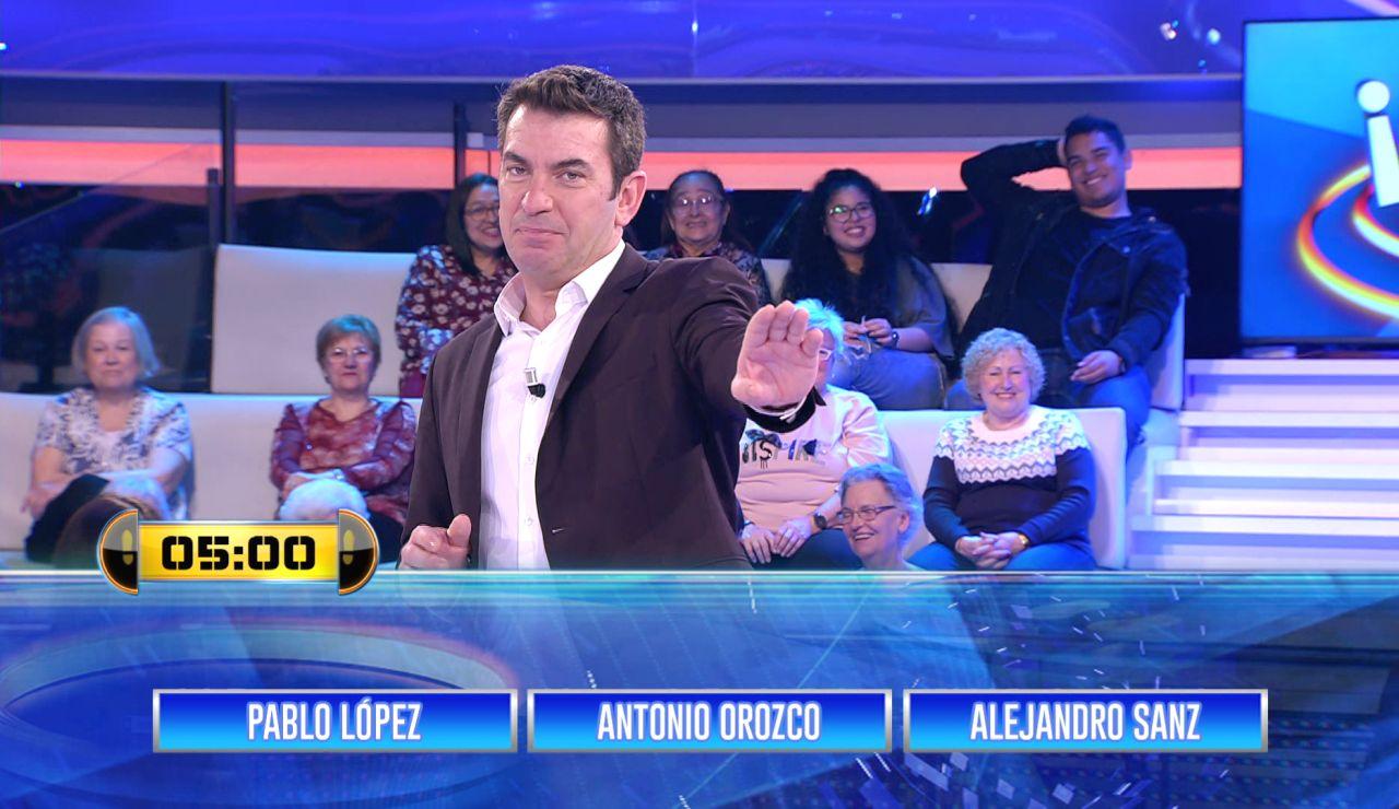 ¿Cuánto sabes de Alejandro Sanz, Pablo López y Antonio Orozco? Ponte a prueba con este 'Entre tres' en '¡Ahora caigo!'
