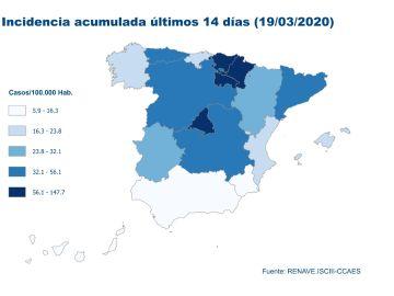 Mapa de datos de coronavirus