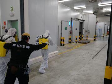 Efectivos de la UME desinfectan el puerto de Barcelona