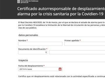Web del 'certificado autorresponsable de desplazamiento'