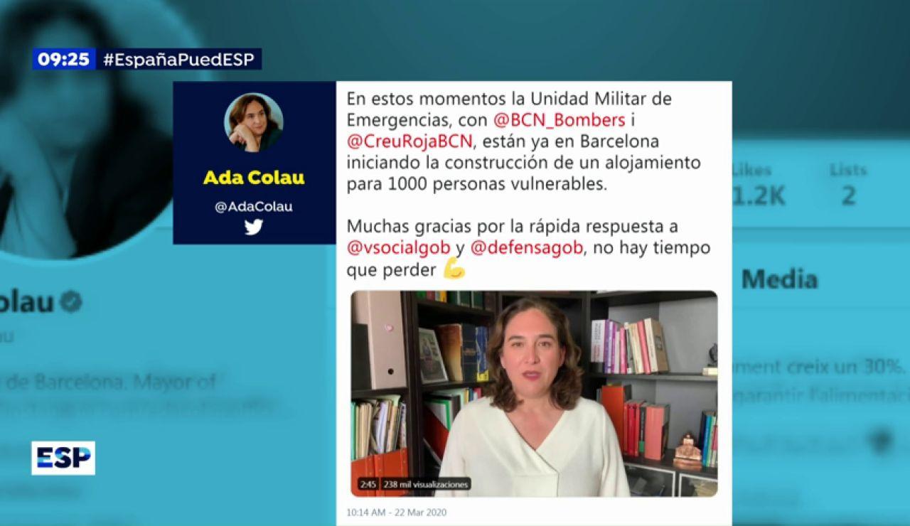 La alcaldesa de Barcelona, Ada Colau, agradece la rápida respuesta del ejército a su petición de ayuda por el coronavirus