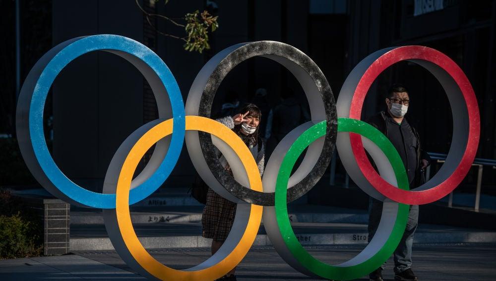 Los anillos olímpicos en Tokio