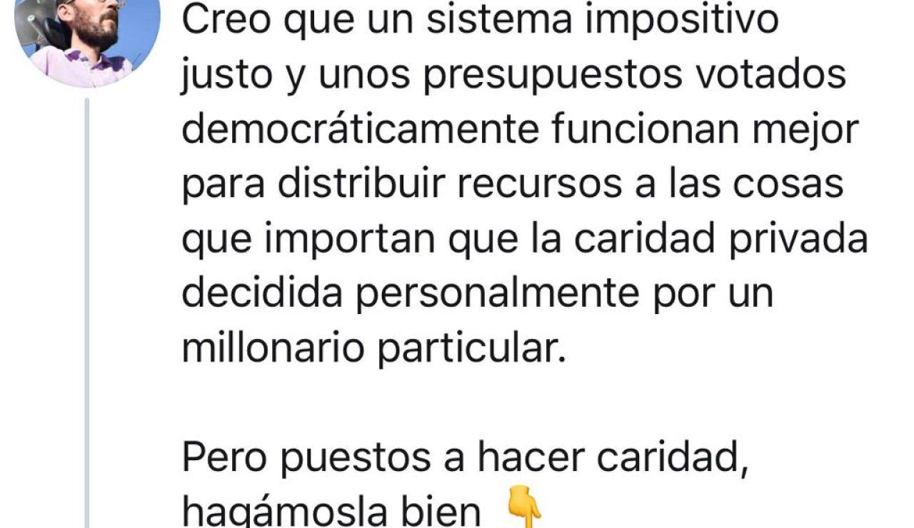 Pablo Echenique critica las donaciones privadas por el coronavirus