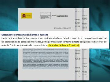 Un informe de Sanidad del 6 de marzo decía que el coronavirus se transmitía a menos de 2 metros y por contacto con las manos