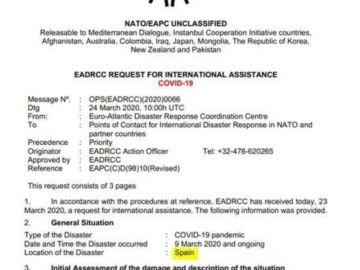 España pide ayuda a la OTAN por el coronavirus
