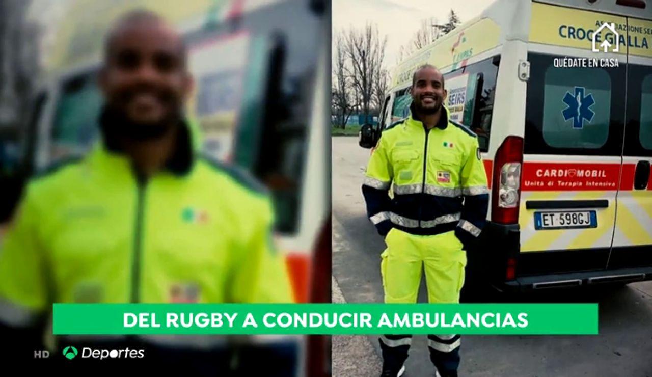 """Maxime Mbandà, del rugby a conducir una ambulancia en la crisis del coronavirus en Italia: """"La situación es bastante preocupante"""""""