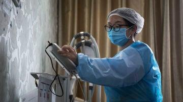 Una enfermera, en Wuhan
