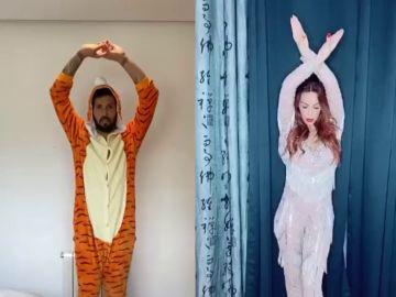 Garay se disfraza de tigre para bailar con Tamara Gorro durante su cuarentena por coronavirus