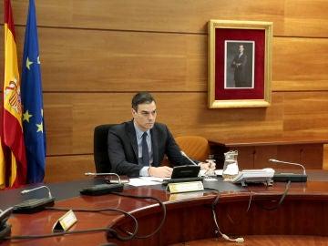 Pedro Sánchez, durante el Consejo de Ministros Extraordinario celebrado este domingo