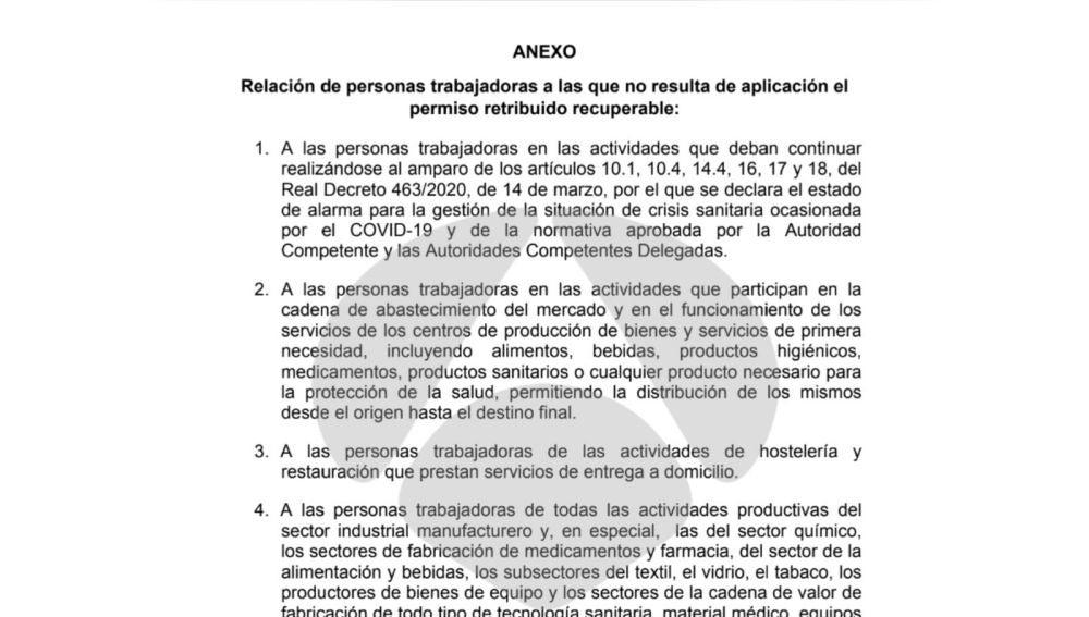 Relación de personas trabajadoras a las que no resulta de aplicación el permiso retribuido recuperable