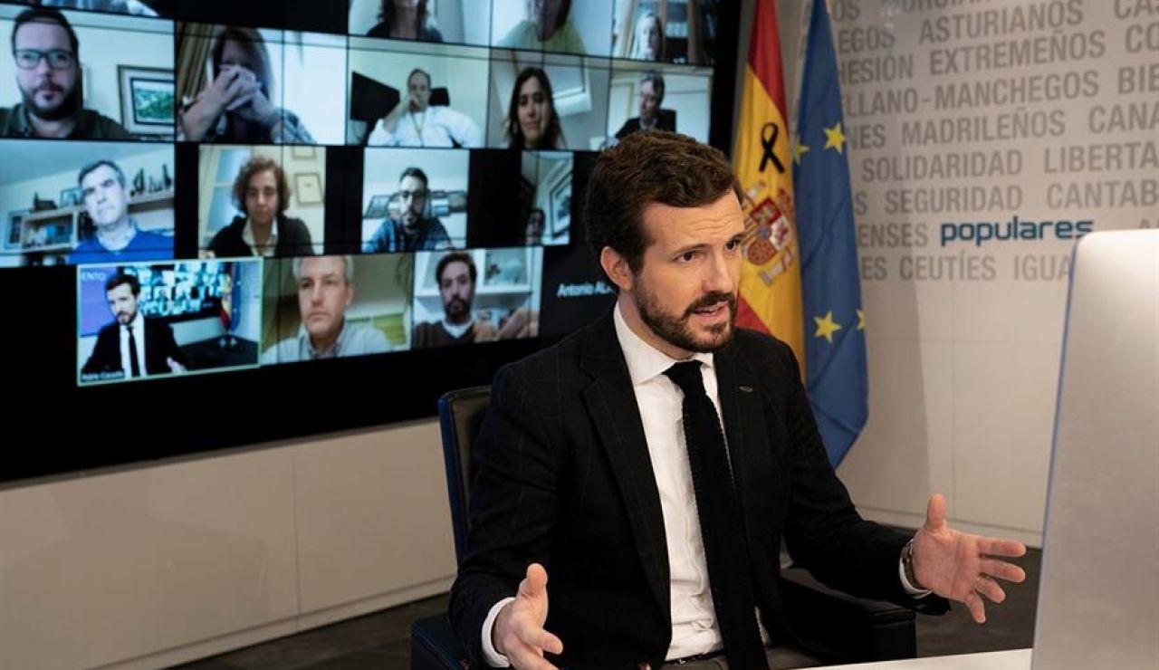 El presidente del Partido Popular Pablo Casado, durante la videoconferencia con la Comisión de seguimiento del COVID-19 del PP, el viernes en Madrid.