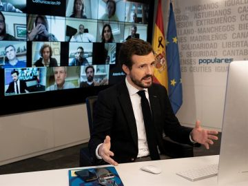 El presidente del Partido Popular Pablo Casado, durante la videoconferencia con la Comisión de seguimiento del COVID-19 del PP