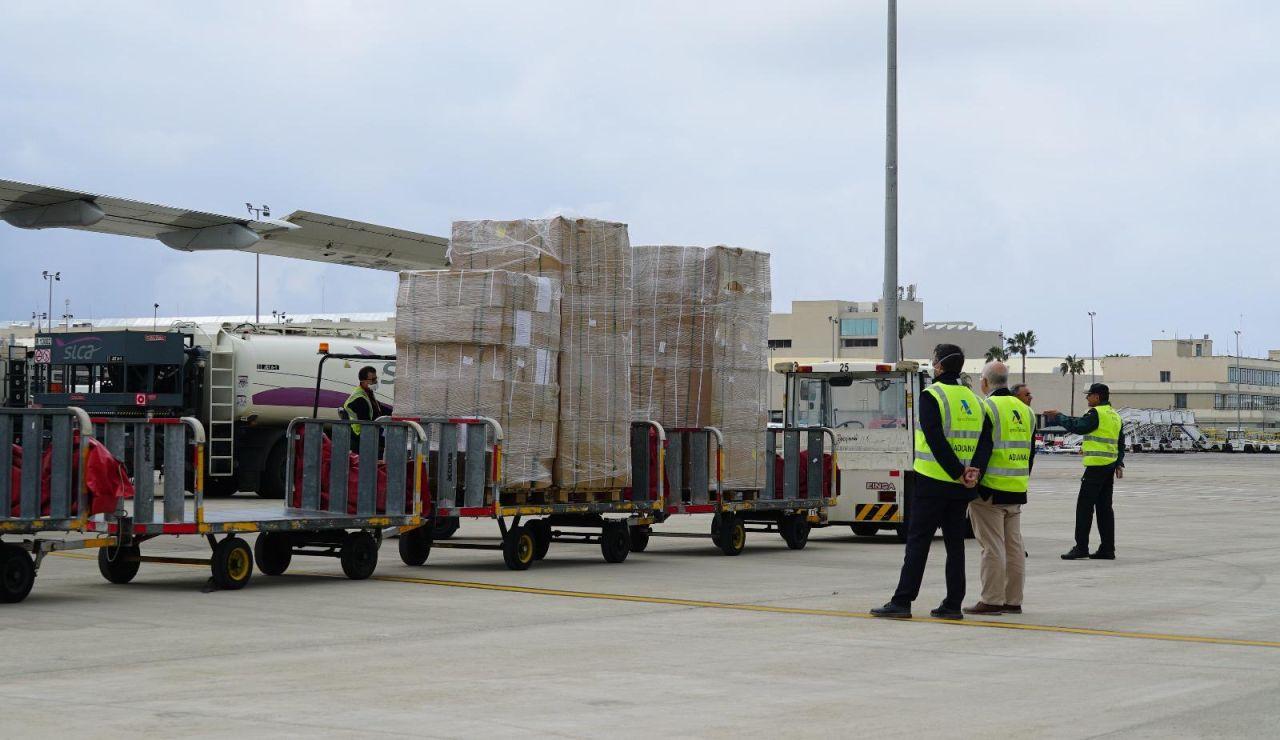 Uno de los cargamentos de material sanitario que ha comprado el Govern balear.