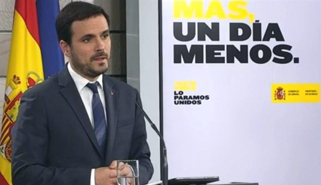 El ministro de Consumo Alberto Garzón, durante la rueda de prensa