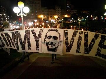 na concentración en recuerdo al hincha del Deportivo Francisco Javier Romero Taboada, alias Jimmy, en Coruña