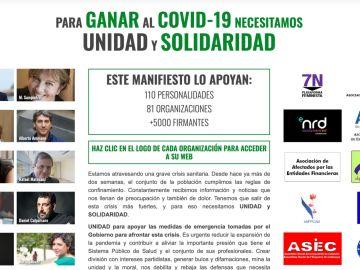 Manifiesto 'Para ganar al COVID-19 necesitamos UNIDAD y SOLIDARIDAD'.