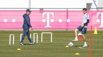 Thomas Müller, en un entrenamiento del Bayern