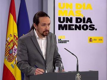 Pablo Iglesias, durante una rueda de prensa en Moncloa