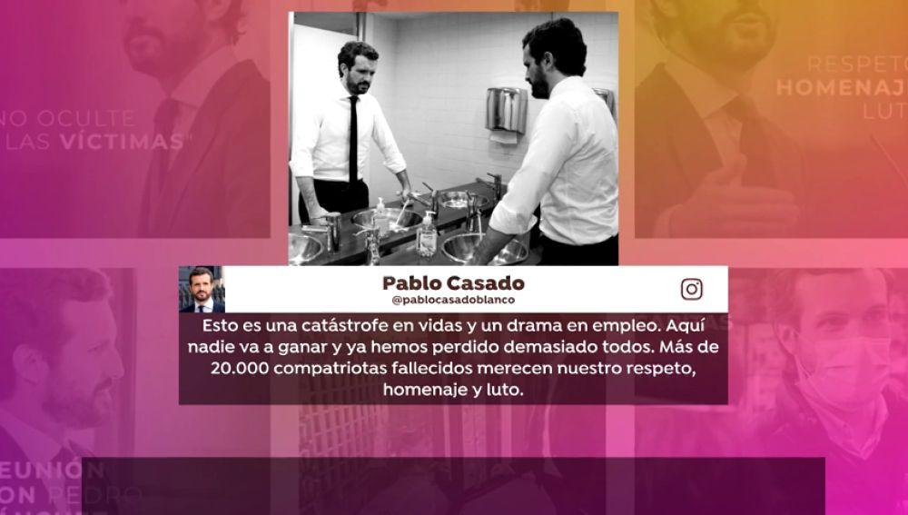 La singular fotografía de Pablo Casado pensando en la tragedia del coronavirus