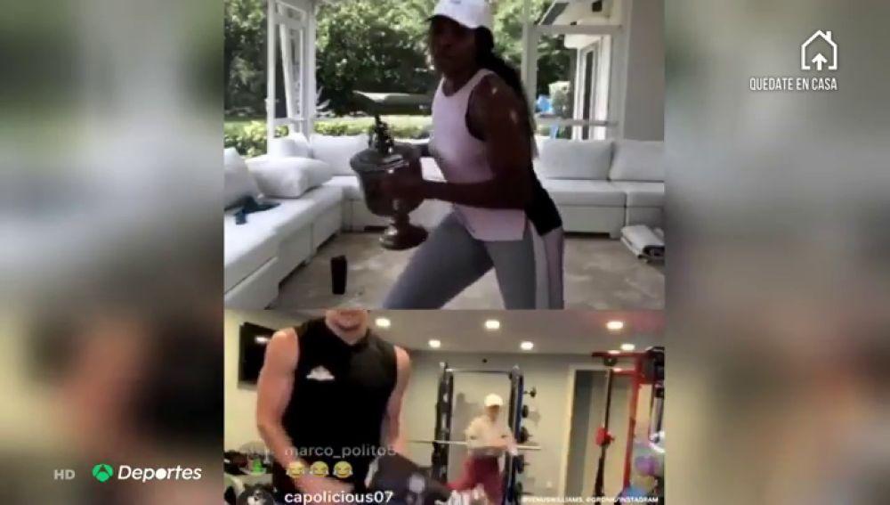 Venus Williams hace pesas con sus trofeos durante el confinamiento por coronavirus