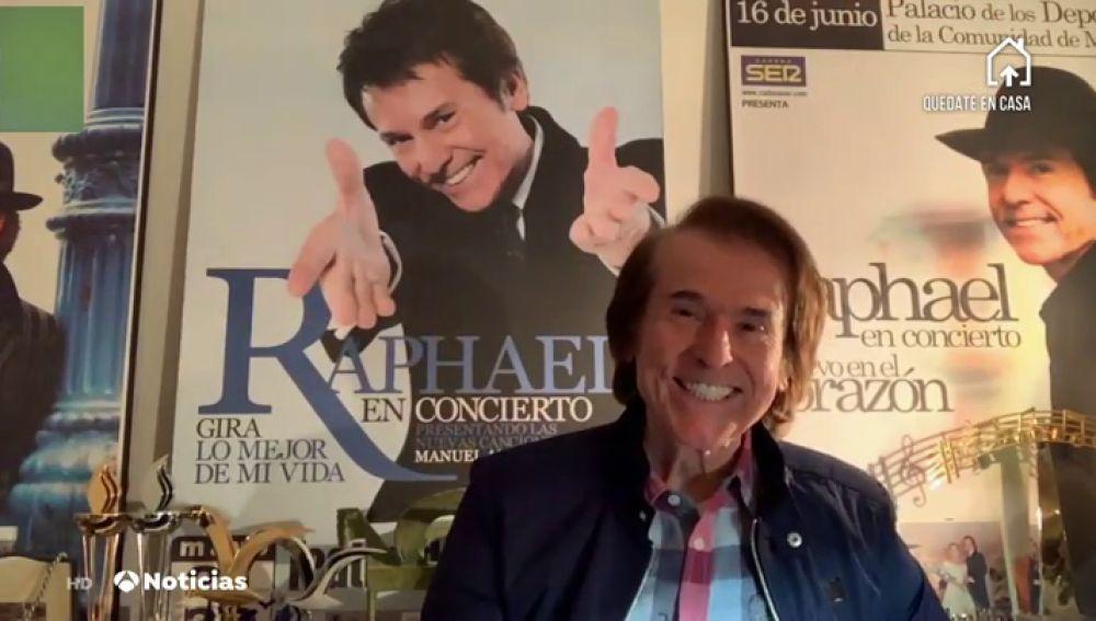 """Rapahel, ante las preguntas de Matías Prats y Mónica Carrillo sobre el coronavirus: """"No voy a dejar de cantar, hay que reinventarse"""""""