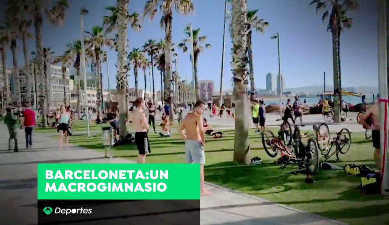 El 'macrogimnasio' de la Barceloneta