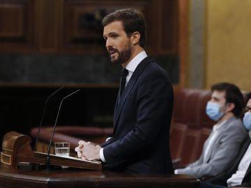 Pablo Casado en el Congreso de los Diputados donde votará 'no' a la prórroga del estado de alarma