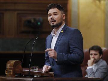 Gabriel Rufián durante su comparecencia en el Congreso de los Diputados