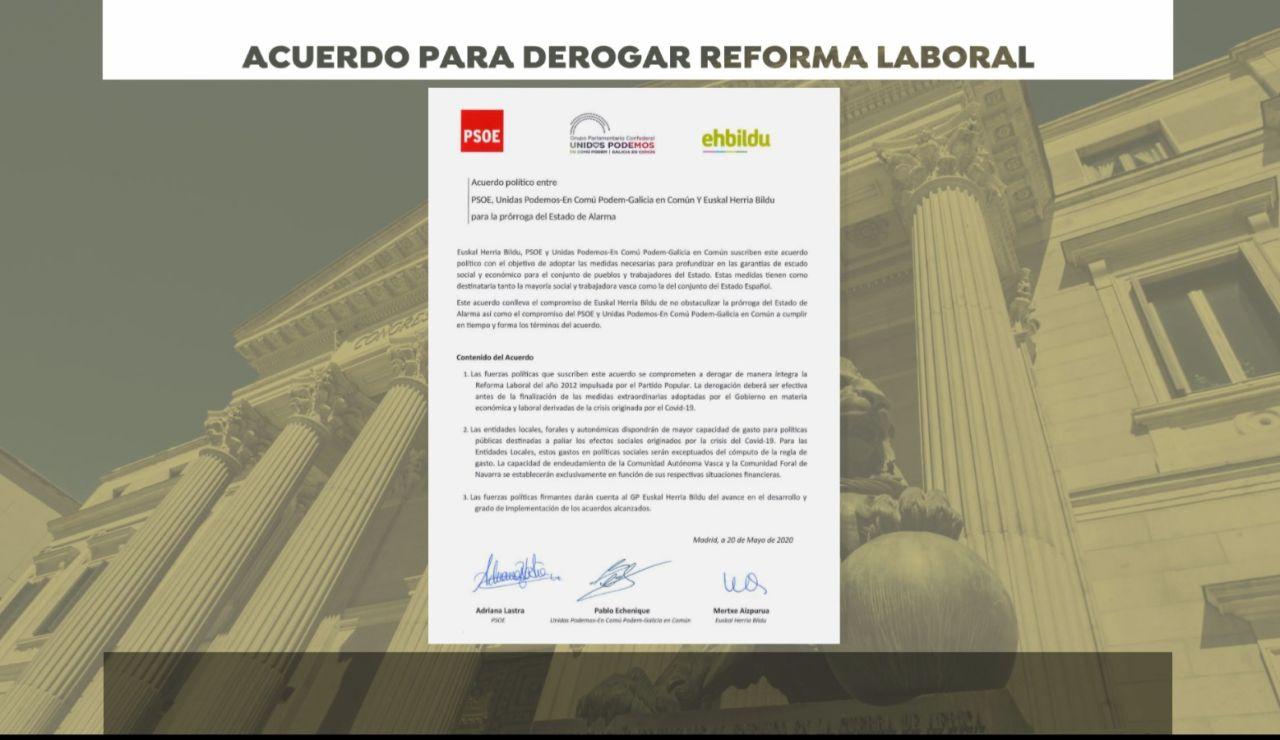 Acuerdo PSOE, Podemos y Bildu para la derogación de reforma laboral