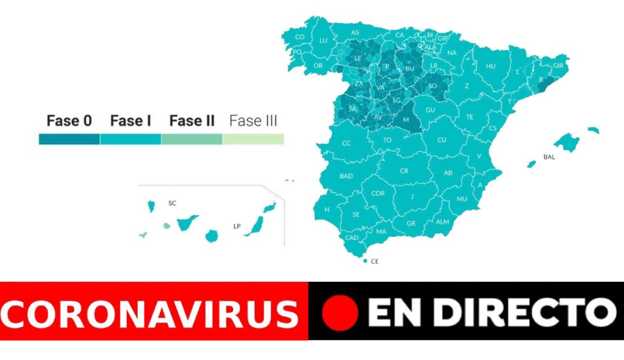 Coronavirus España: Cambio de fase de desescalada y datos de muertos y contagios de hoy, últimas noticias en directo | Última hora coronavirus