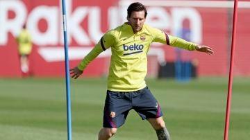 Leo Messi se entrena en la Ciudad Deportiva del FC Barcelona