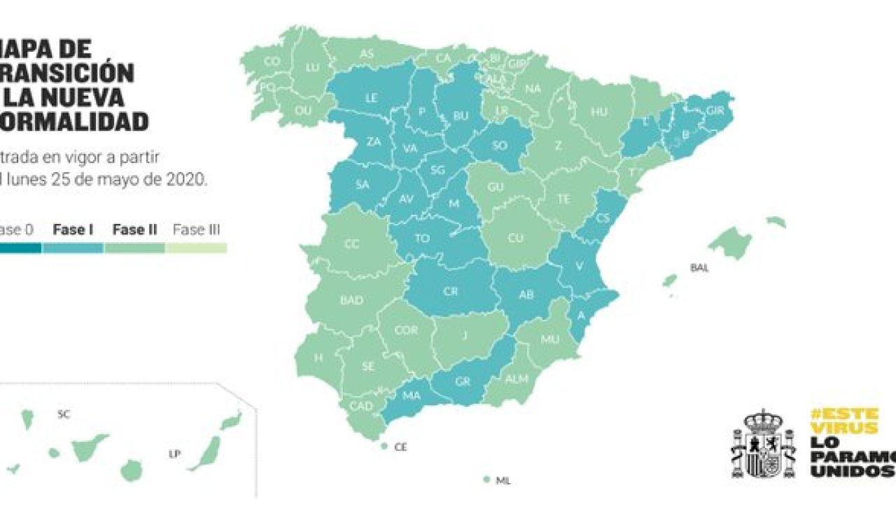 El mapa de las zonas de desescalada en España a partir del lunes 25 de mayo