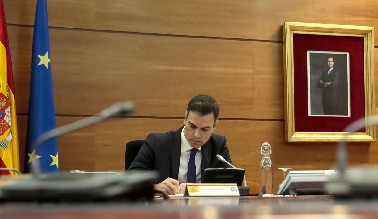 Pedro Sánchez, durante el Consejo de Ministros Extraordinario del 22 de mayo
