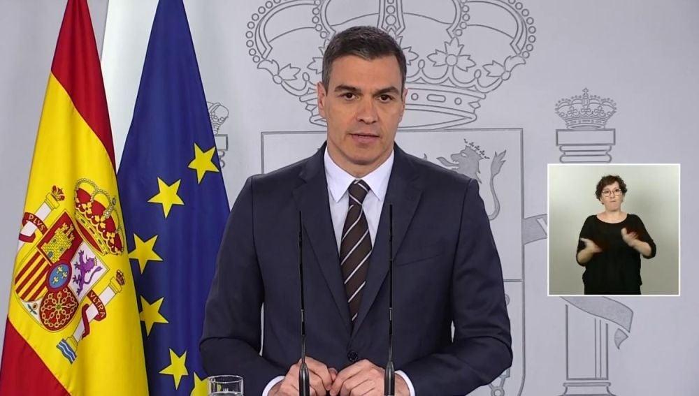 Pedro Sánchez hablando sobre el estado de alarma y el coronavirus