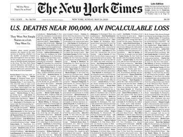 La impactante portada del 'The New York Times' con los nombres de las víctimas del coronavirus