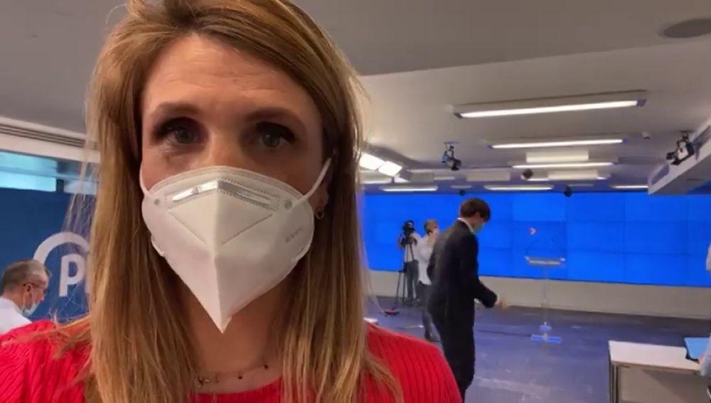 Primera rueda de prensa presencial en el PP con medidas de protección contra el coronavirus