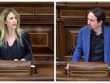 Cayetana Álvarez de Toledo y Pablo Iglesias en el Congreso