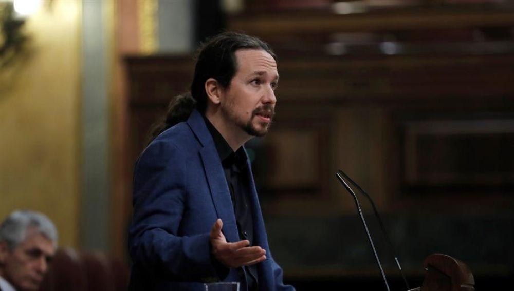 El vicepresidente segundo del Gobierno, Pablo Iglesias, durante su intervención en el pleno celebrado este miércoles en el Congreso.