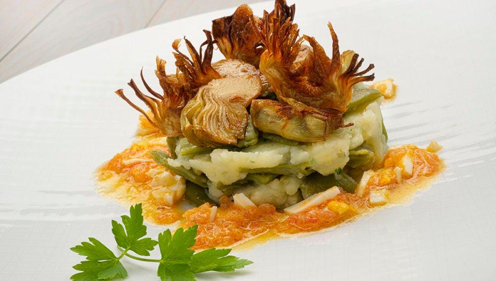 Receta de judías verdes con patatas y alcachofas