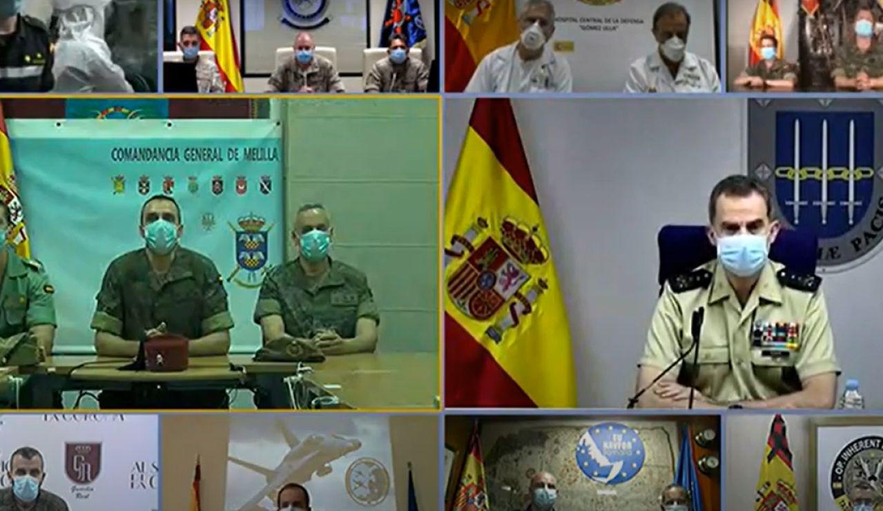 Captura de la videoconferencia del rey Felipe VI y Margarita Robles por el Día de las Fuerzas Armadas