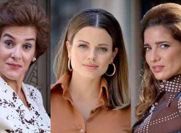 Anabel Alonso, Adriana Torrebejano y Lucía Jiménez, Benigna, Lourdes e Irene en 'Amar es para siempre'