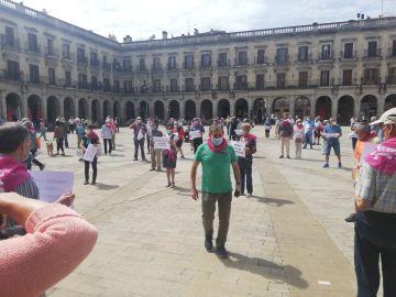 Concentración de los pensionistas en Vitoria