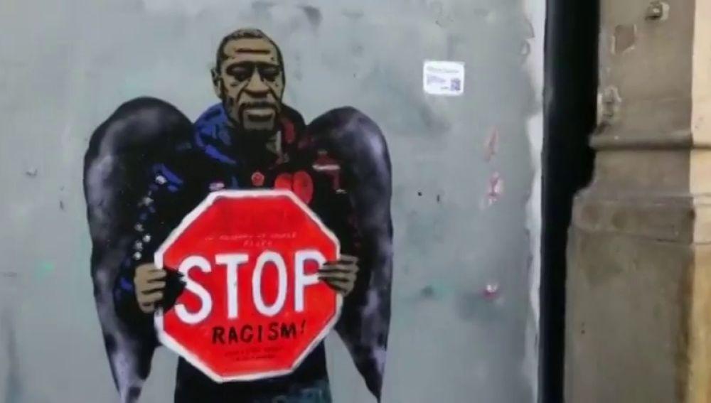 Un grafiti de TVBOY en Barcelona contra el racismo y en homenaje a George Floyd